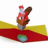 Χριστουγεννιάτικη Κάρτα Άγιος Βασίλης σε Καμινάδα