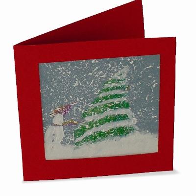 Χριστουγεννιάτικη Κάρτα Χιονισμένο Τοπίο