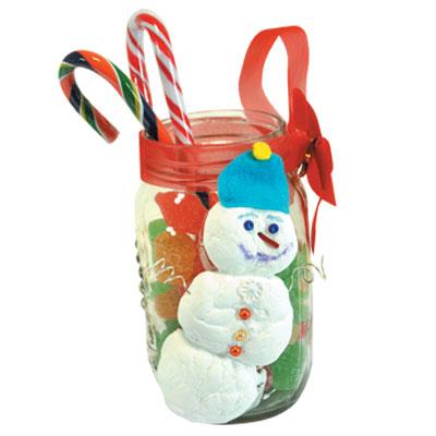 Χριστουγεννιάτικη Κατασκευή Βάζο Χιονάνθρωπος