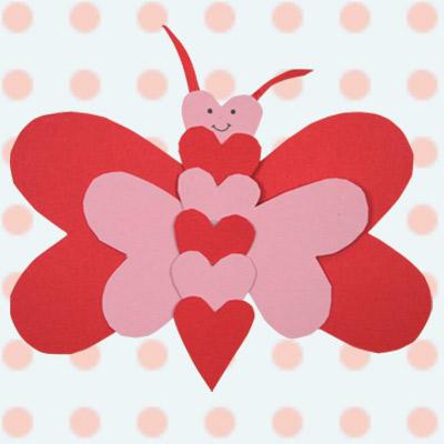 Χάρτινη Πεταλούδα από Καρδιές